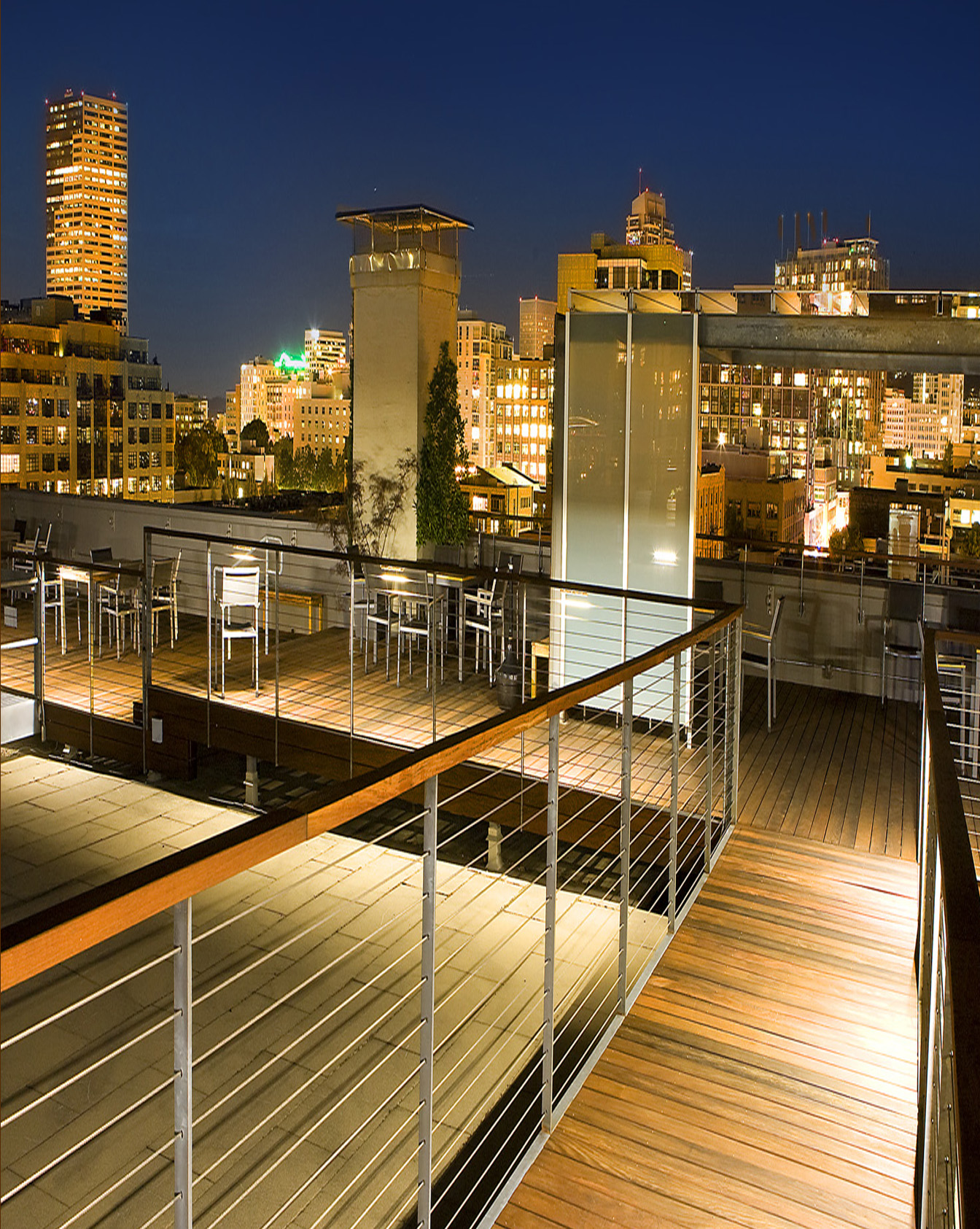 Rooftop lounge on apartment.